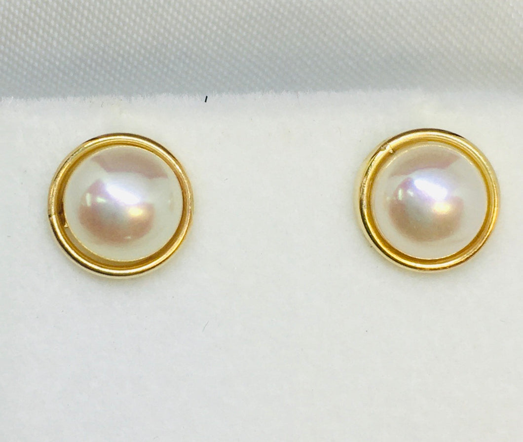 Cultured Pearl and 14K Yellow Gold Studs