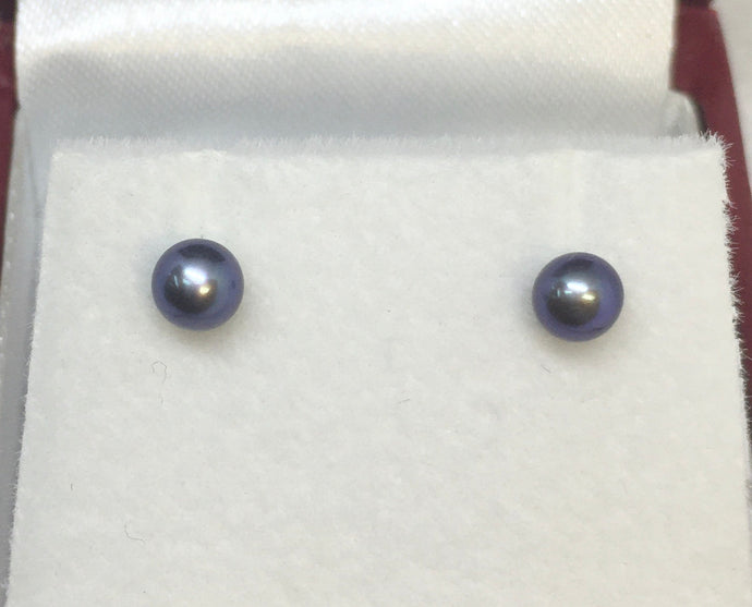 Sterling Silver Black Round Pearl Studs