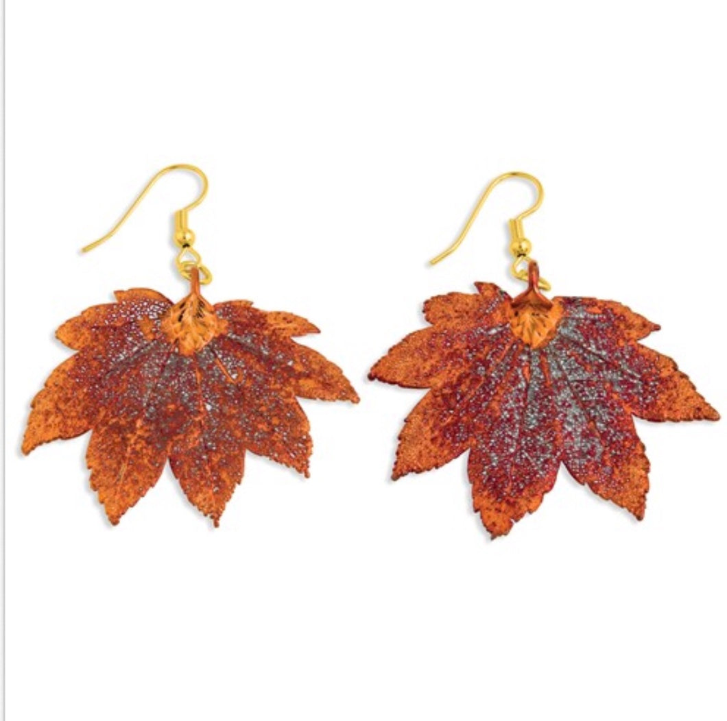 Copper Dipped Maple Leaf Dangle Earrings