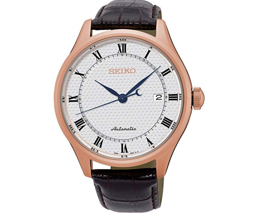 Men's Rose & Leather White Dial Automatic Seiko Watch