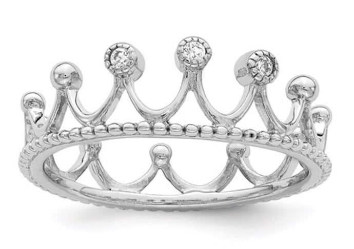 Sterling Silver & CZ Crown Ring