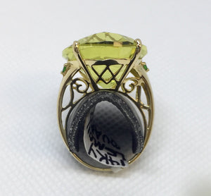 Large Lemon Quartz Fashion Ring