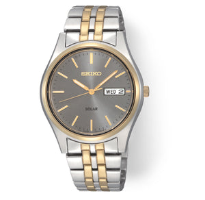 Men's Two-Tone Gray Dial Solar Seiko Watch