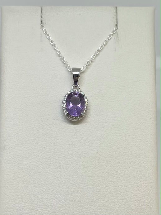 Oval Halo Amethyst Necklace