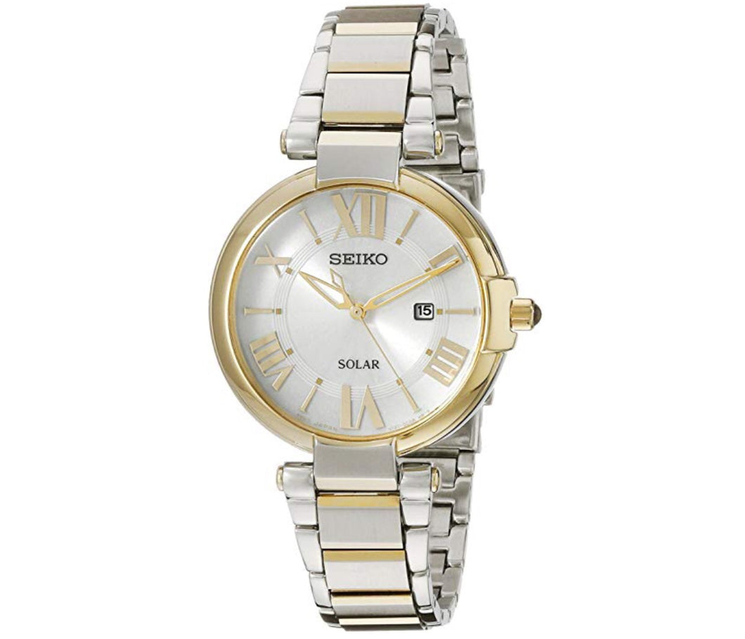 Women's Two-Tone White Dial Solar Seiko Watch