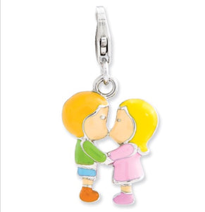 Sterling Silver Kissing Couple Charm