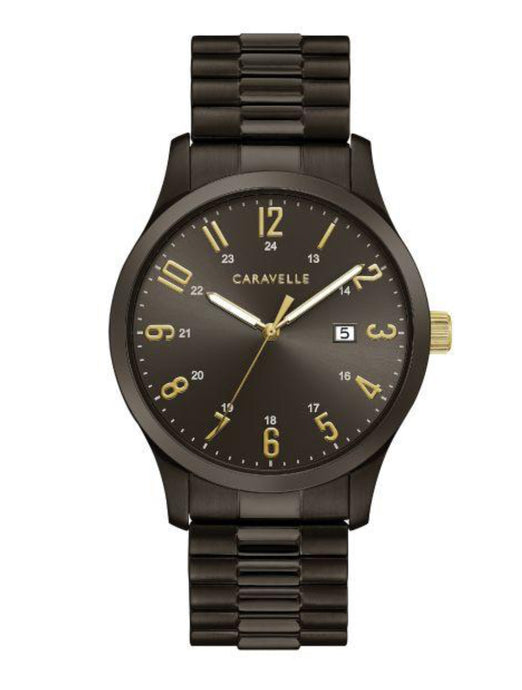 Men's All Black & Gold Caravelle Watch