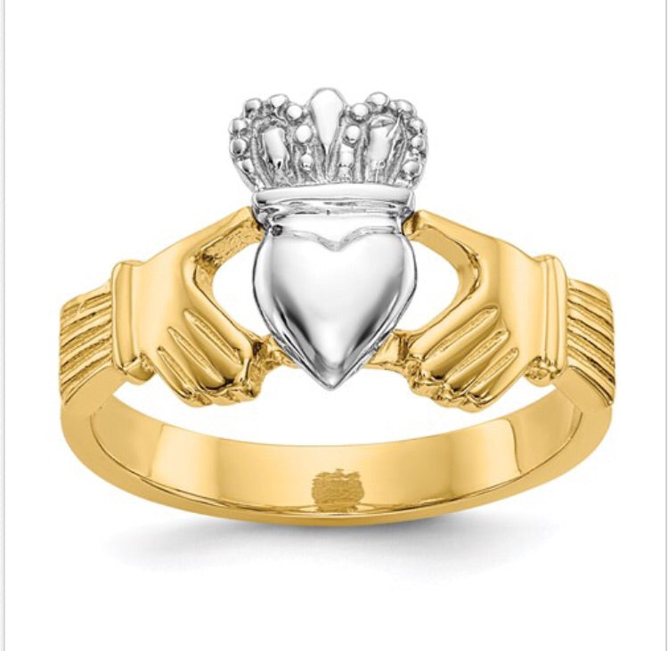 14k Two-Tone Claddagh Ring