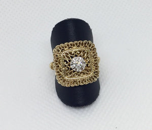 Square Filigree Diamond Ring