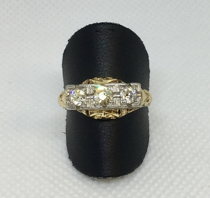 Vintage Three Stone European Cut Diamond Engagement Ring