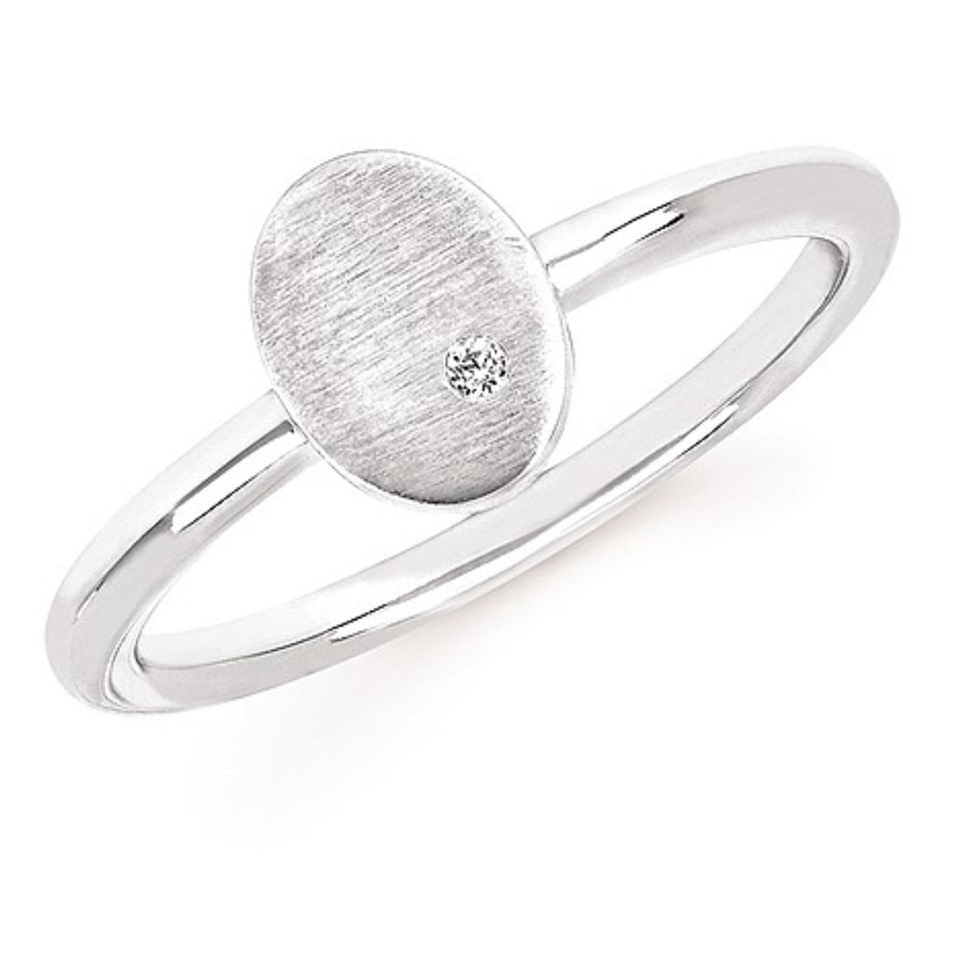 Sterling Silver Oval Satin Finish Ring