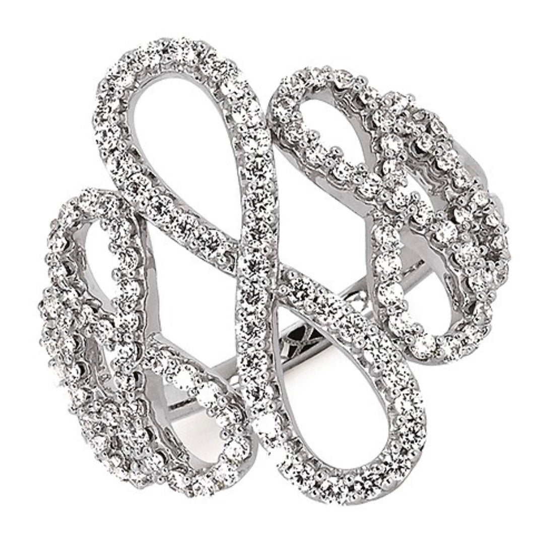 Looped 14k White Gold Diamond Ring