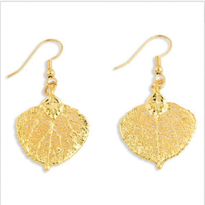 Gold Dipped Aspen Leaf Dangle Earrings