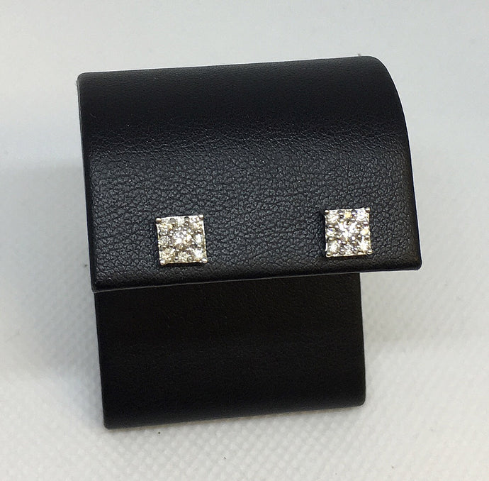 Diamond Square Cluster Stud Earrings