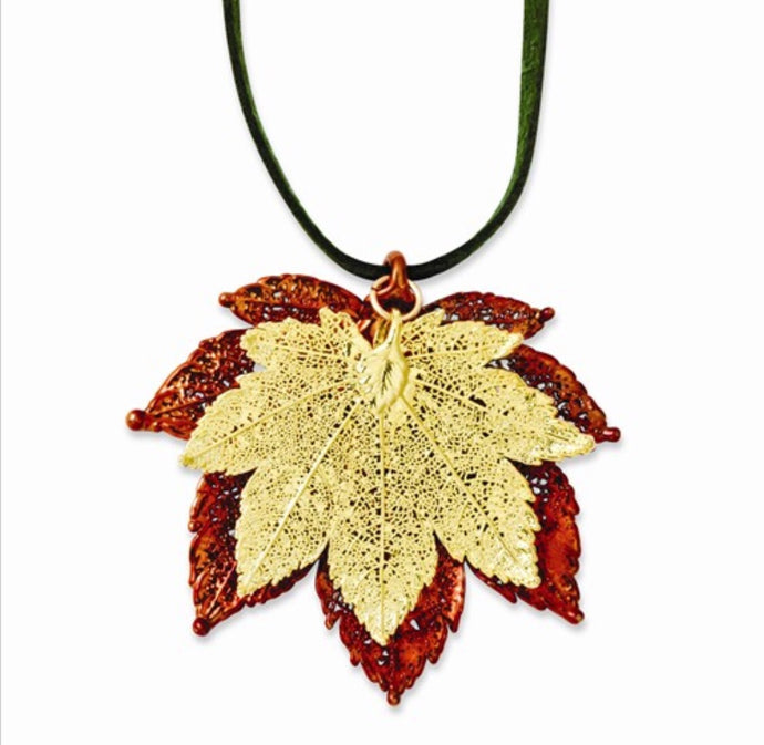 Copper & Gold Dipped Maple Leaf Necklace