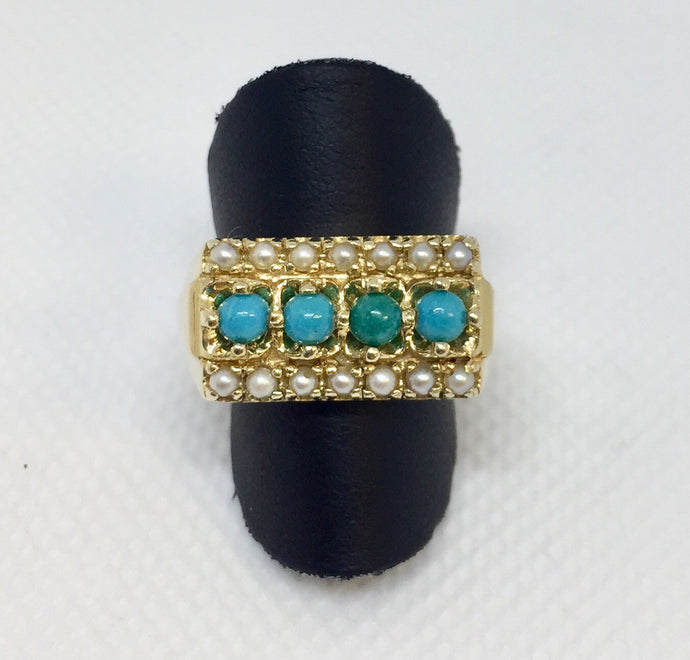 Turquoise & Seed Pearl Fashion Ring