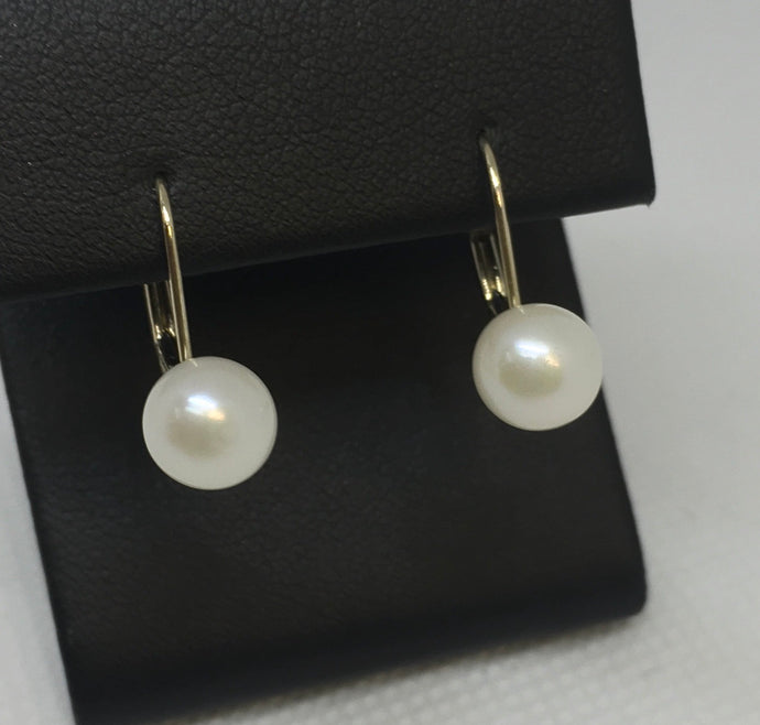 14k Yellow Gold Lever Back Pearl Earrings