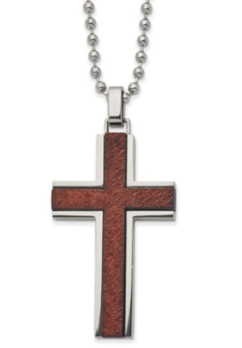 Wooded Inlay Men's Cross Necklace