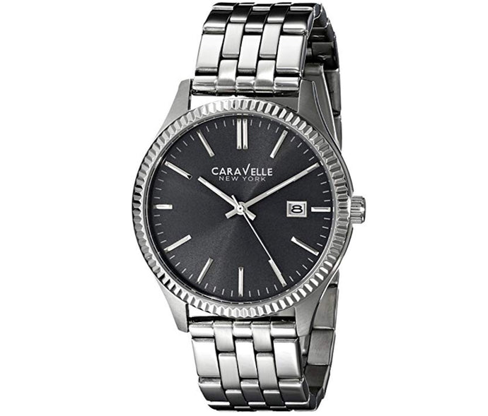 Men's Silver-Tone Black Dial Caravelle Watch