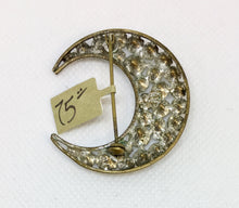 Load image into Gallery viewer, Crescent Shaped Crystal Brooch