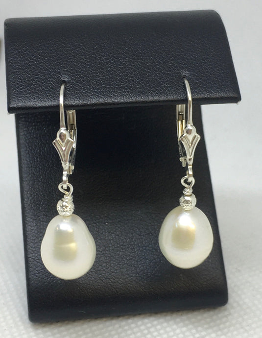 Sterling Silver Lever Back Pearl Earrings