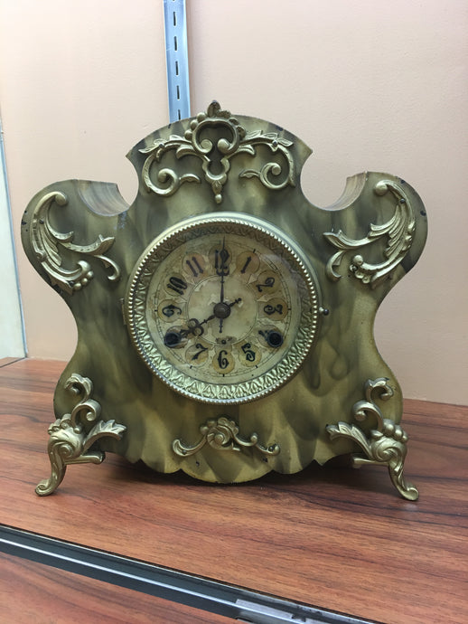 Vintage Black/Yellow Iron Mantle Clock