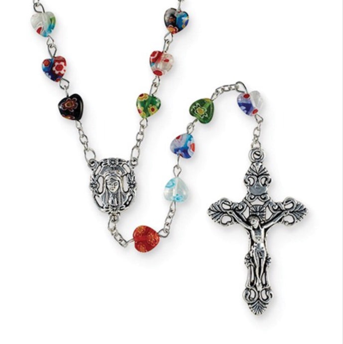 Creed Italian Multi-Color Murano Heart Beaded Rosary