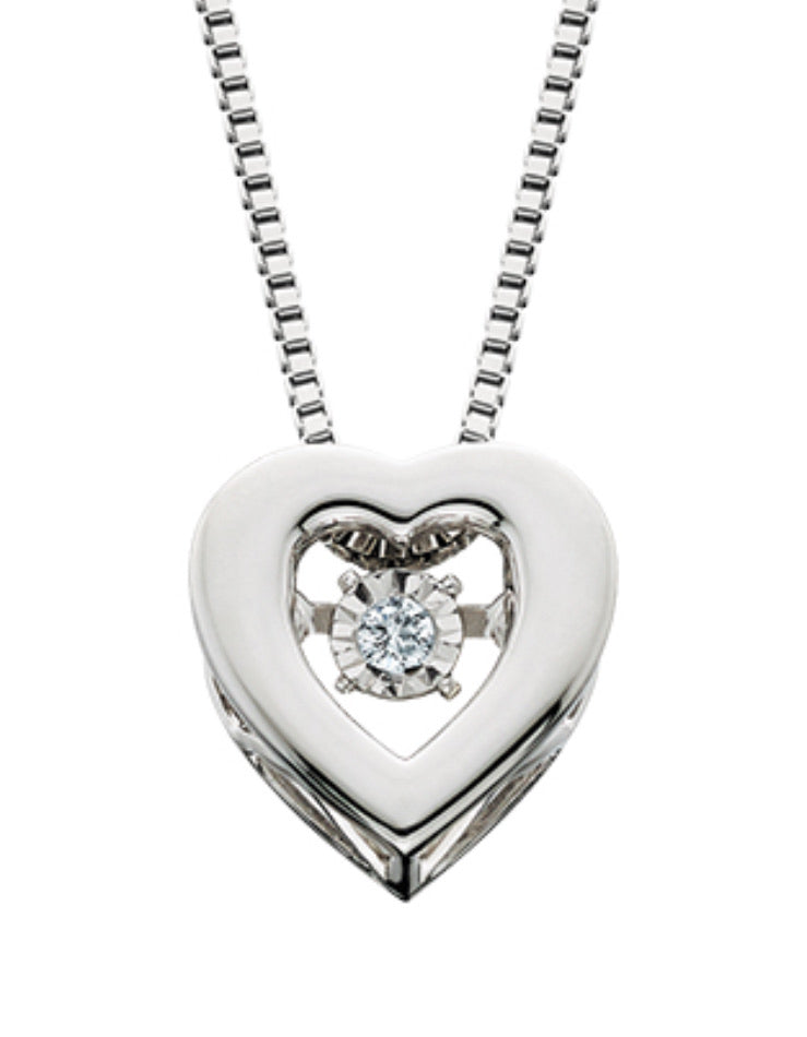 Sterling Silver Heart Dancing Diamond Necklace