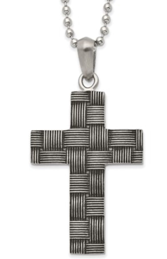 Antiqued Woven Cross Necklace