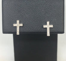 Load image into Gallery viewer, Diamond Cross Post Earrings