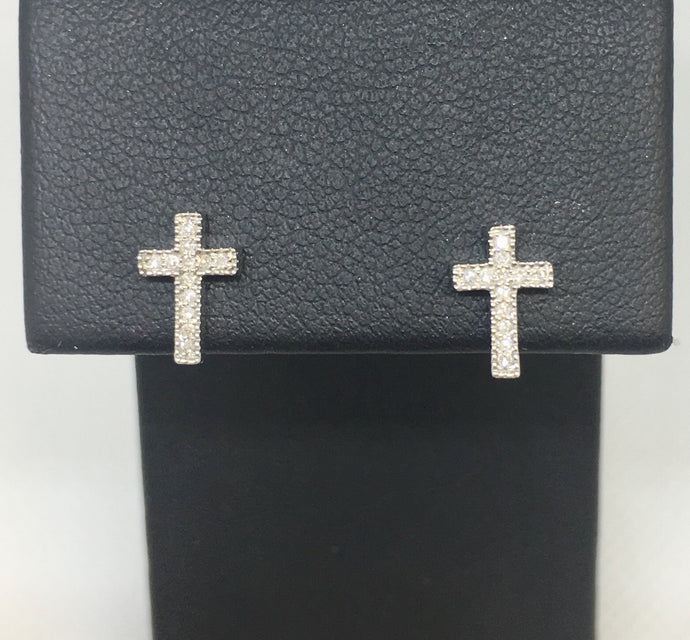 Diamond Cross Post Earrings