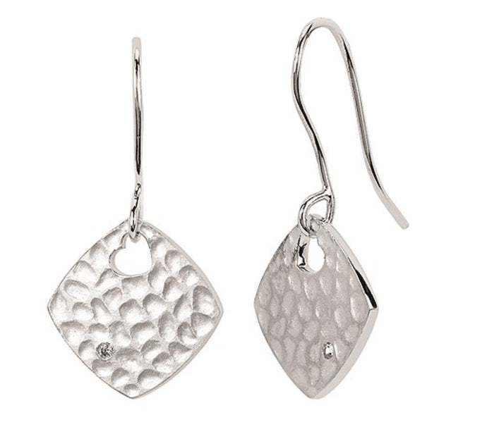 Sterling Silver Diamond Shape Hammered Dangle Earrings