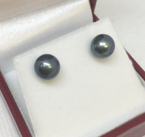 Sterling Silver Black Round Pearl Earrings