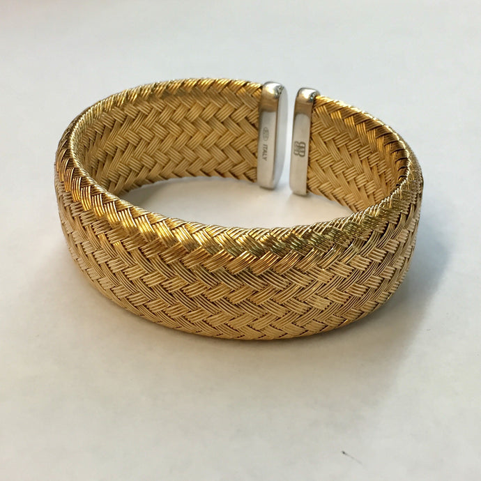 Gold Plated Woven Cuff Bracelet