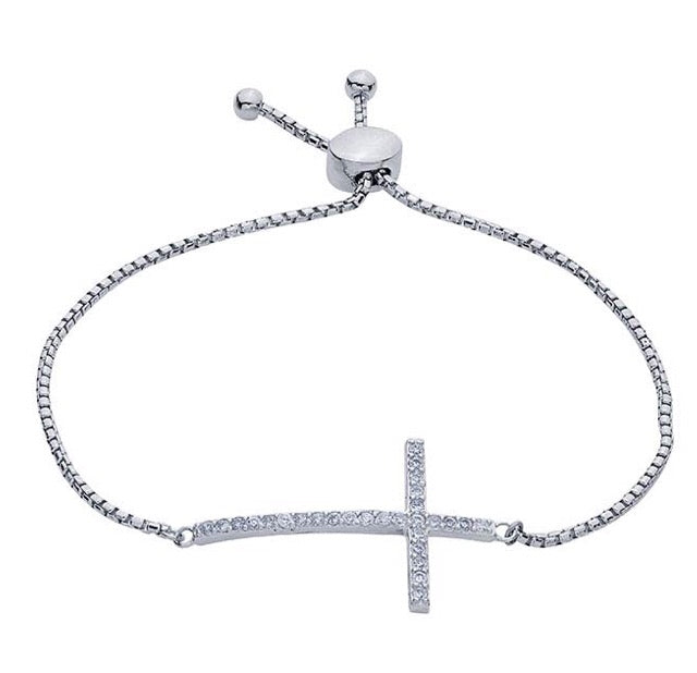 Sterling Silver & CZ-Set Cross Link Adjustable Bracelet