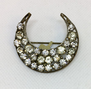 Crescent Shaped Crystal Brooch