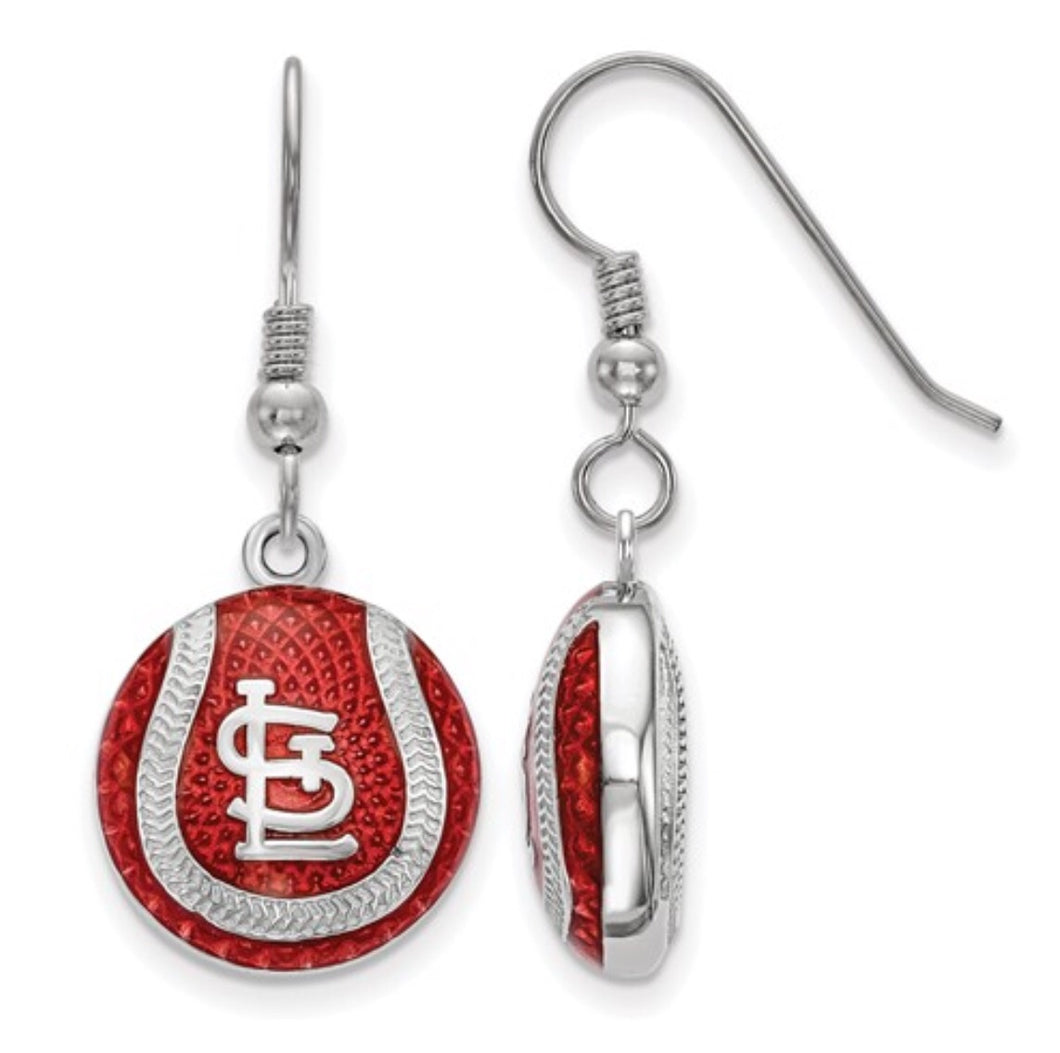 St. Louis Cardinals Sterling Silver Dangle Enamel Earrings
