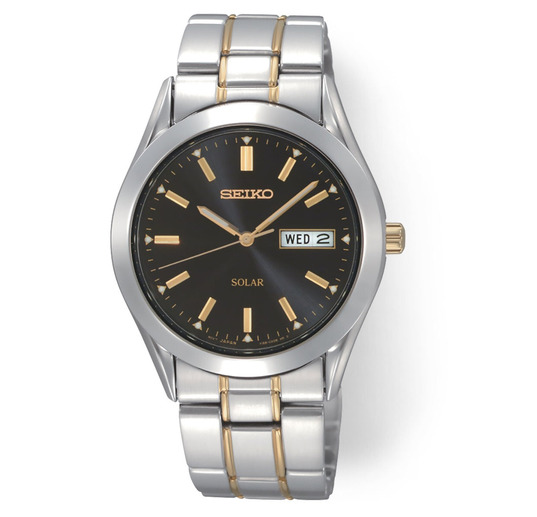 Men's Two-Tone Black Dial Seiko Watch