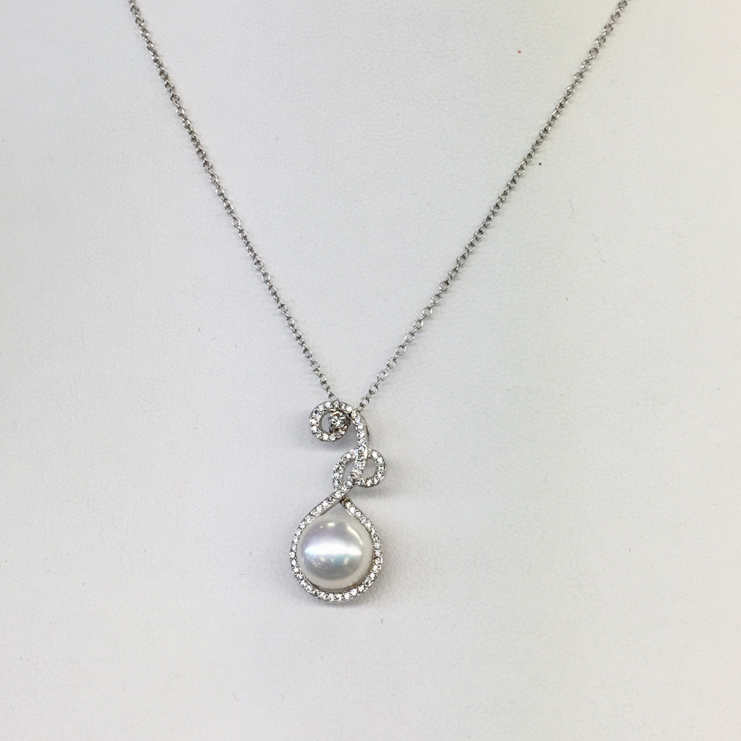 Swirly Diamond and Pearl Necklace