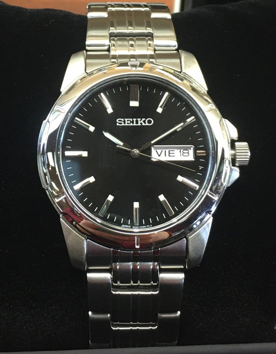 Shiny White Man's Seiko Watch