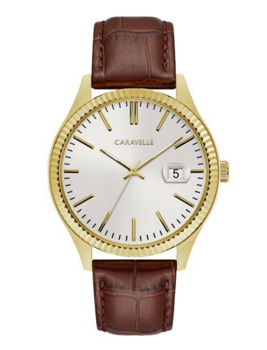 Men's Leather & Two-tone Caravelle Watch