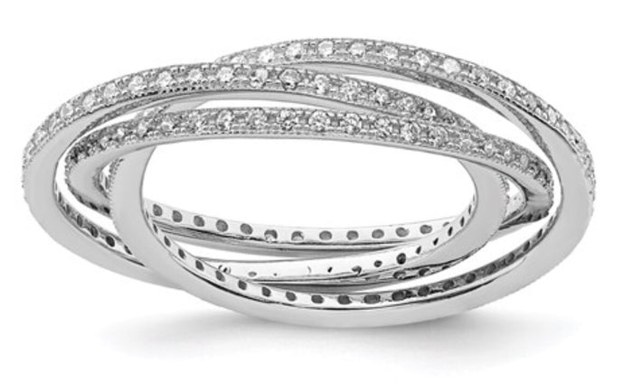 Sterling Silver & CZ Three Interlocking Ring