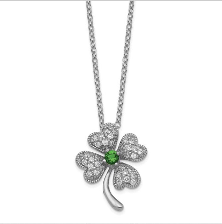Simulated Emerald & CZ 4-Leaf Clover Necklace