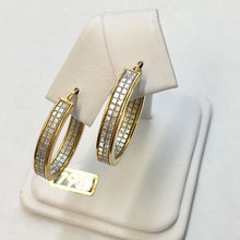 Load image into Gallery viewer, Medium Oval Gold Plate Faux Diamond Hoop Earrings