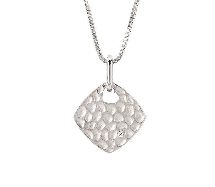 Sterling Silver Diamond Shape Hammered Pendant