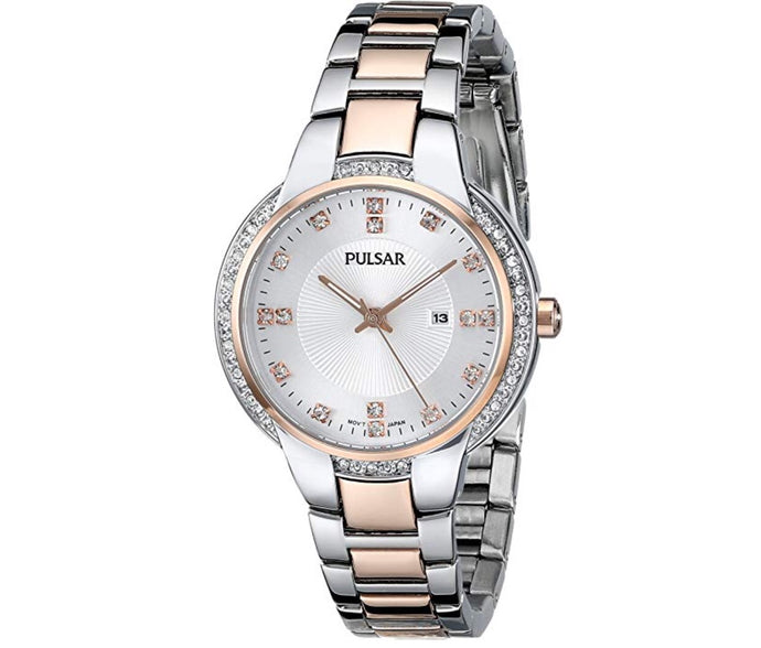Women's Rose & White-Tone Pulsar Watch