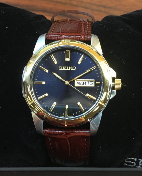 Snazzy Navy and Leather Seiko Watch