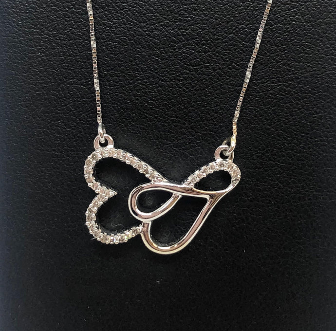Diamond Double Heart Stationary Necklace
