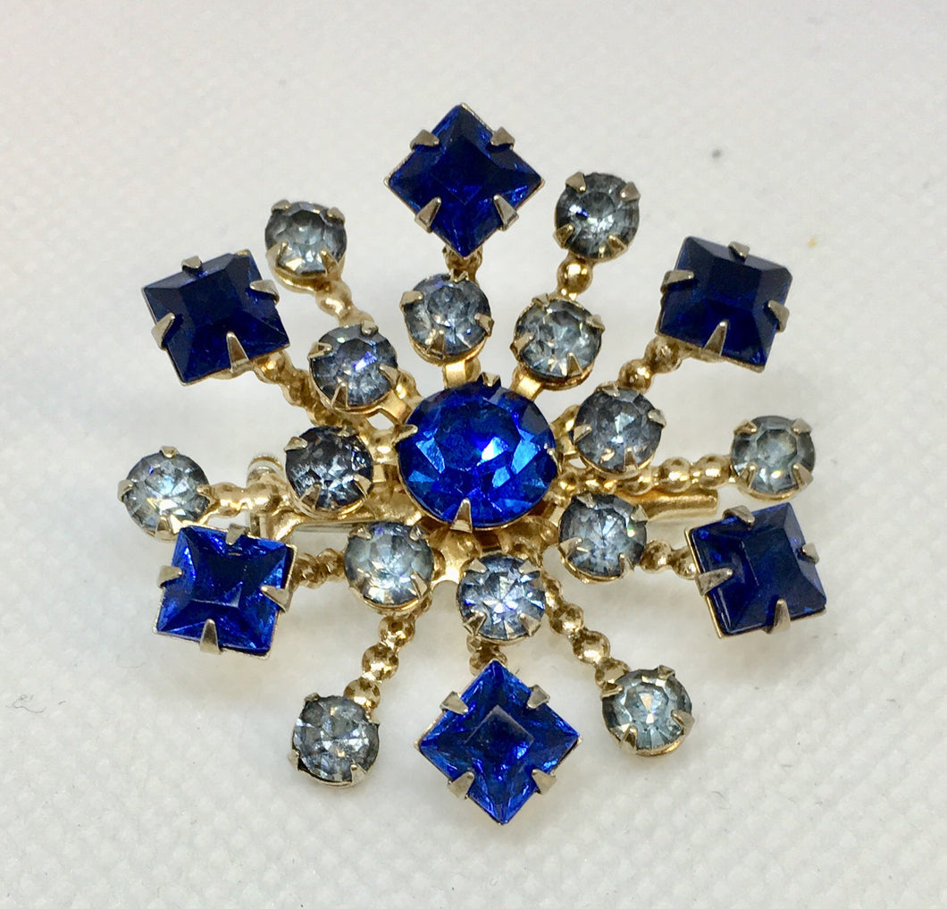 Blue Starburst Costume Brooch