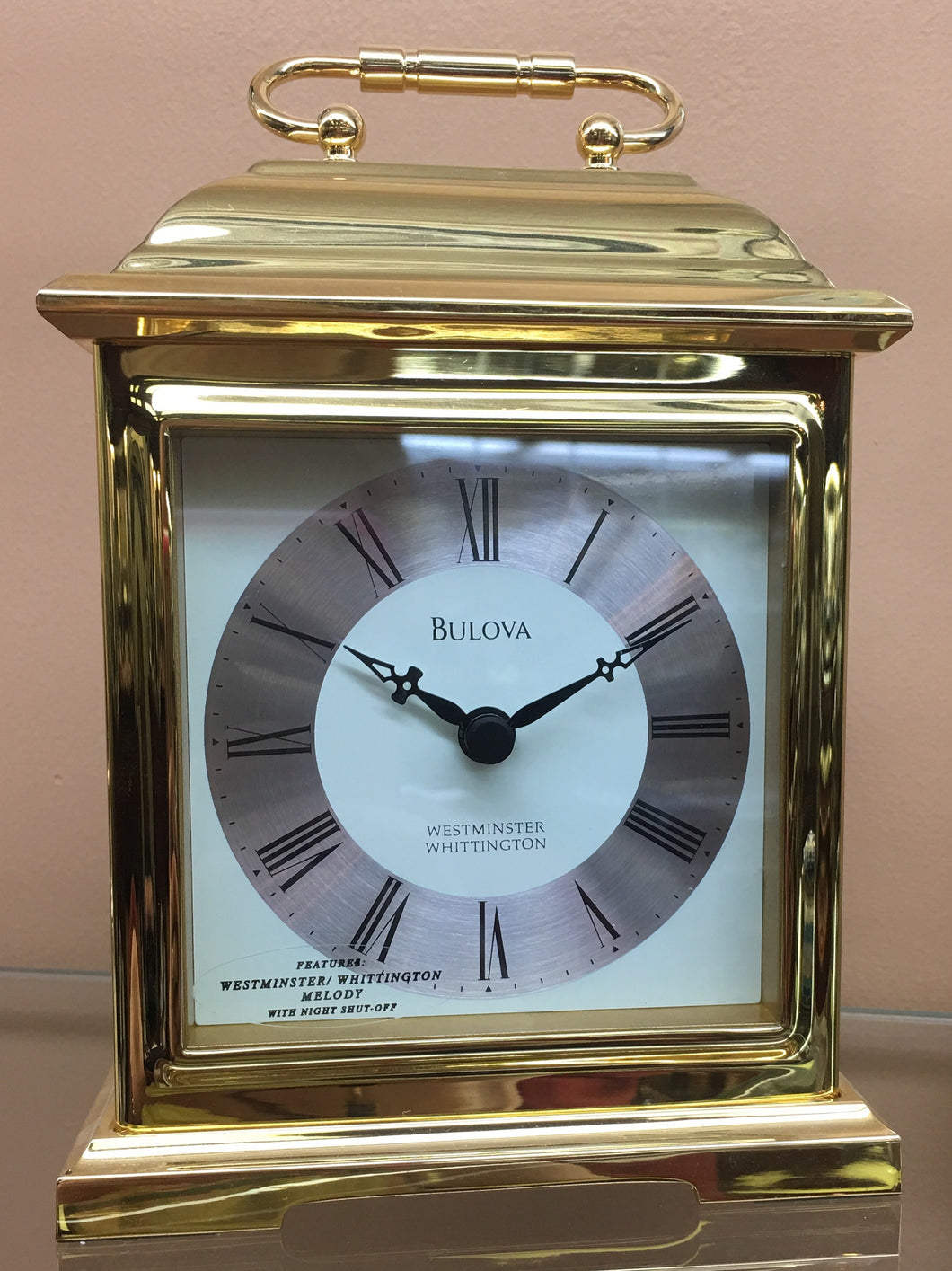 Small Brass Bulova Desk Carriage Clock